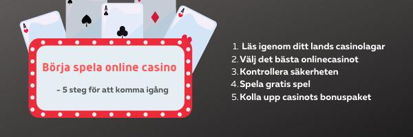 Fem steg för att komma igång att spela på online casino